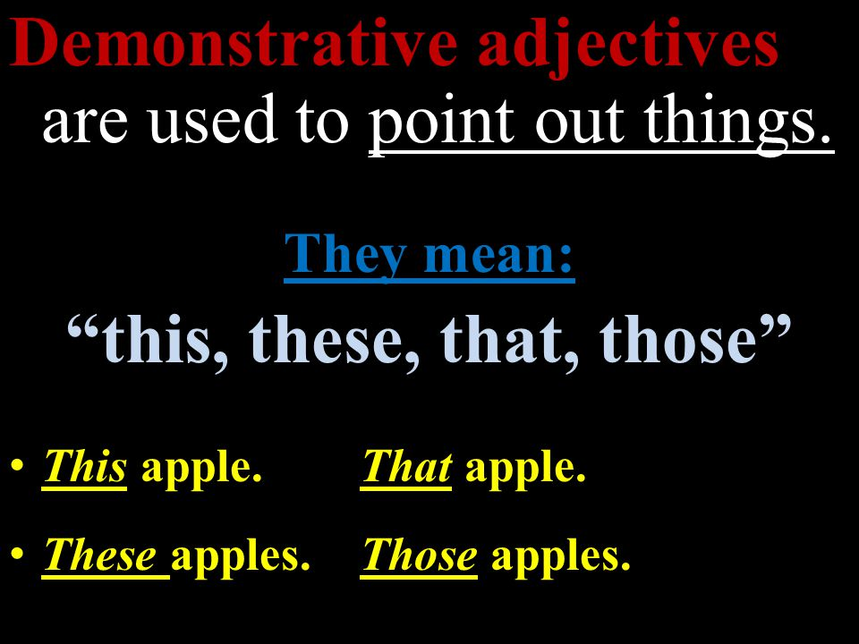 Demonstrative adjectives are used to point out things.