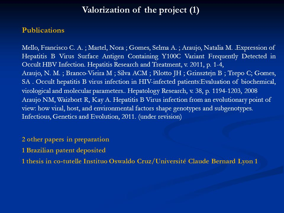 Publications Mello, Francisco C. A. ; Martel, Nora ; Gomes, Selma A. ; Araujo, Natalia M..Expression of Hepatitis B Virus Surface Antigen Containing Y