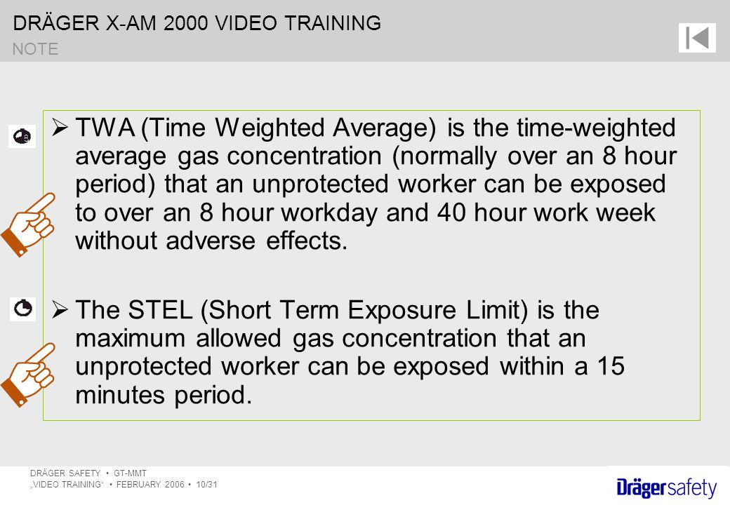 "DRÄGER X-AM 2000 VIDEO TRAINING DRÄGER SAFETY GT-MMT ""VIDEO TRAINING FEBRUARY 2006 10/31  TWA (Time Weighted Average) is the time-weighted average gas concentration (normally over an 8 hour period) that an unprotected worker can be exposed to over an 8 hour workday and 40 hour work week without adverse effects."