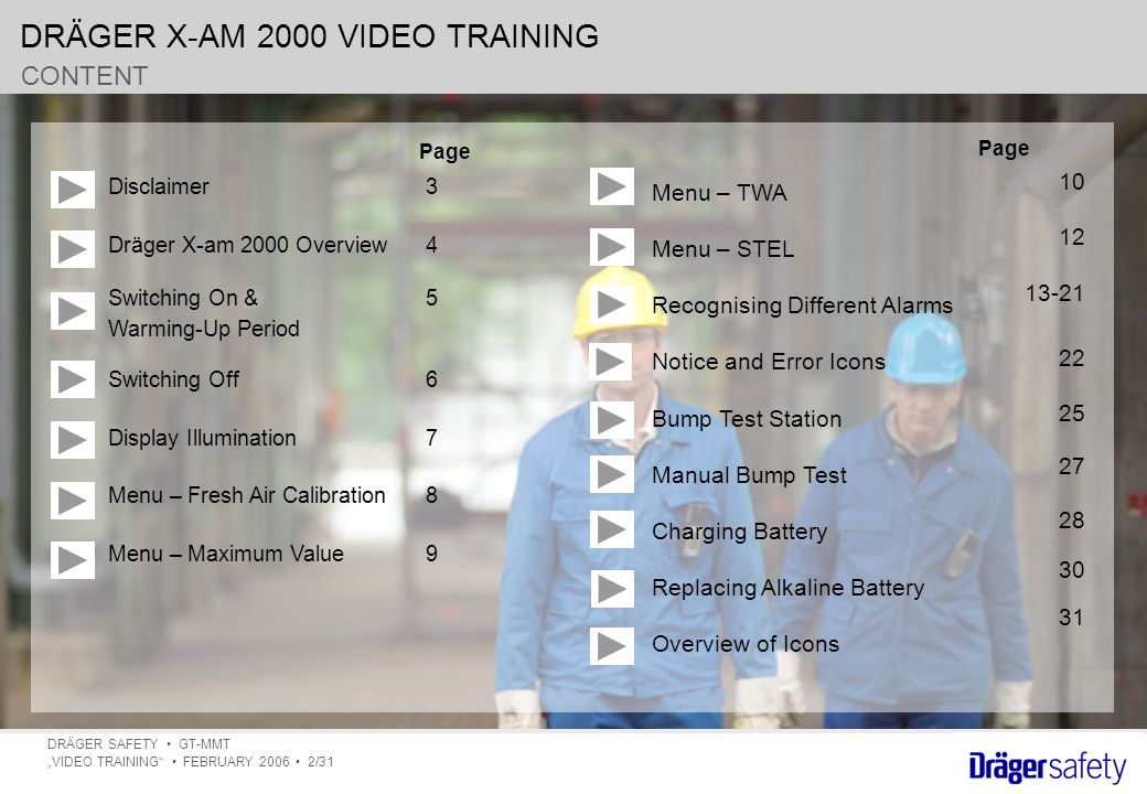 "DRÄGER X-AM 2000 VIDEO TRAINING DRÄGER SAFETY GT-MMT ""VIDEO TRAINING FEBRUARY 2006 2/31 CONTENT Disclaimer3 Dräger X-am 2000 Overview4 Switching On & 5 Warming-Up Period Switching Off6 Display Illumination7 Menu – Fresh Air Calibration8 Menu – Maximum Value9 Page 10 12 13-21 22 25 27 28 30 31 Menu – TWA Menu – STEL Recognising Different Alarms Notice and Error Icons Bump Test Station Manual Bump Test Charging Battery Replacing Alkaline Battery Overview of Icons"