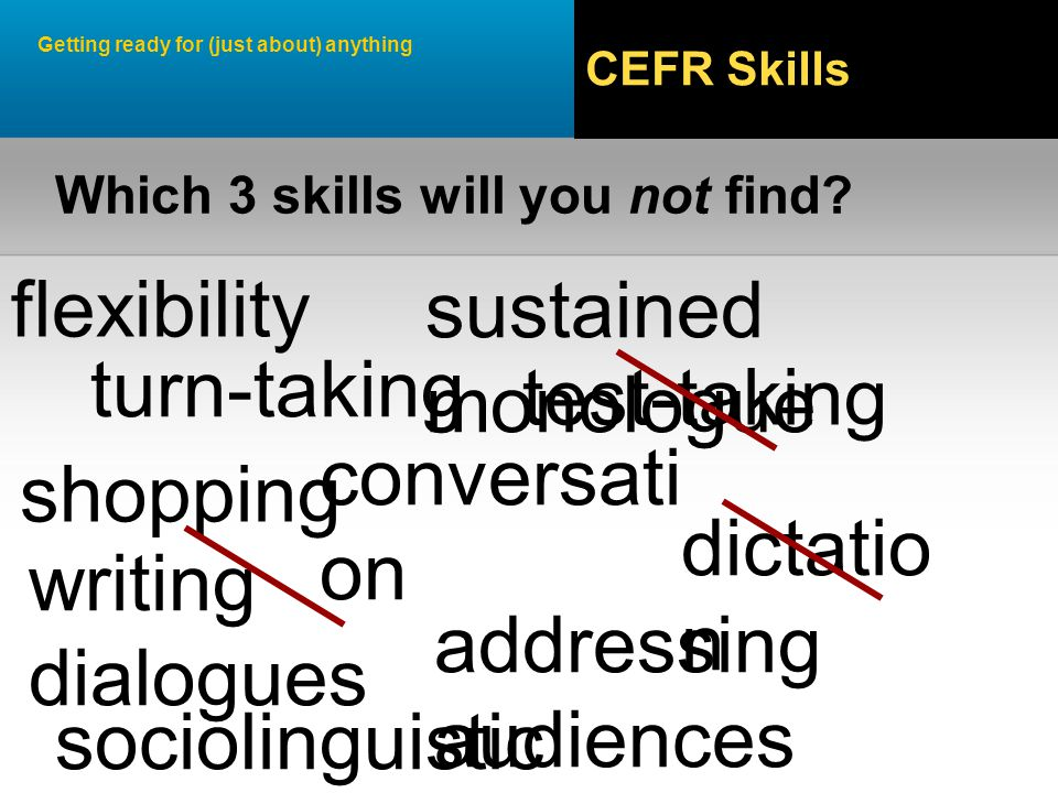 Getting ready for (just about) anything CEFR Skills flexibility shopping conversati on test-taking turn-taking sustained monologue Which 3 skills will you not find.