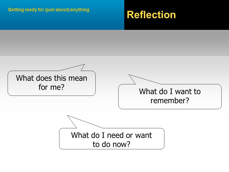 Getting ready for (just about) anything Reflection What do I want to remember.