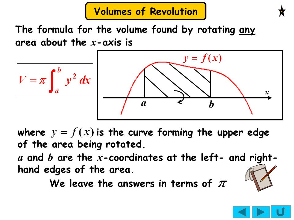 Volumes of Revolution STUDENTS TAKING THE EDEXCEL SPEC DO NOT NEED THIS SECTION.
