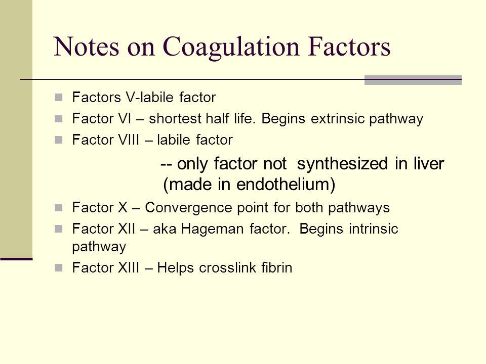Notes on Coagulation Factors Factors V-labile factor Factor VI – shortest half life. Begins extrinsic pathway Factor VIII – labile factor -- only fact