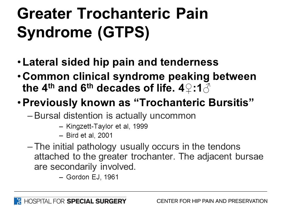 Greater Trochanteric Pain Syndrome (GTPS) Lateral sided hip pain and tenderness Common clinical syndrome peaking between the 4 th and 6 th decades of