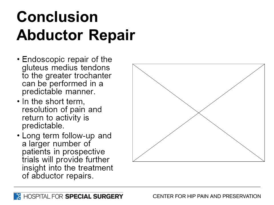 Conclusion Abductor Repair Endoscopic repair of the gluteus medius tendons to the greater trochanter can be performed in a predictable manner. In the