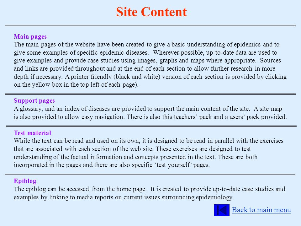 Site Content Back to main menu Main pages The main pages of the website have been created to give a basic understanding of epidemics and to give some
