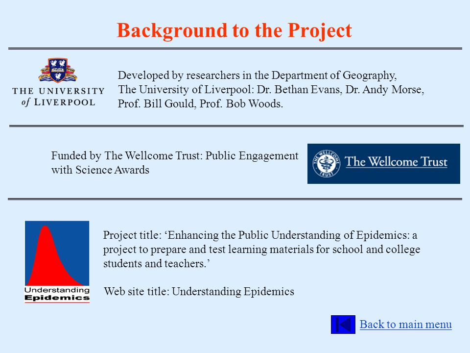 Background to the Project Funded by The Wellcome Trust: Public Engagement with Science Awards Developed by researchers in the Department of Geography,