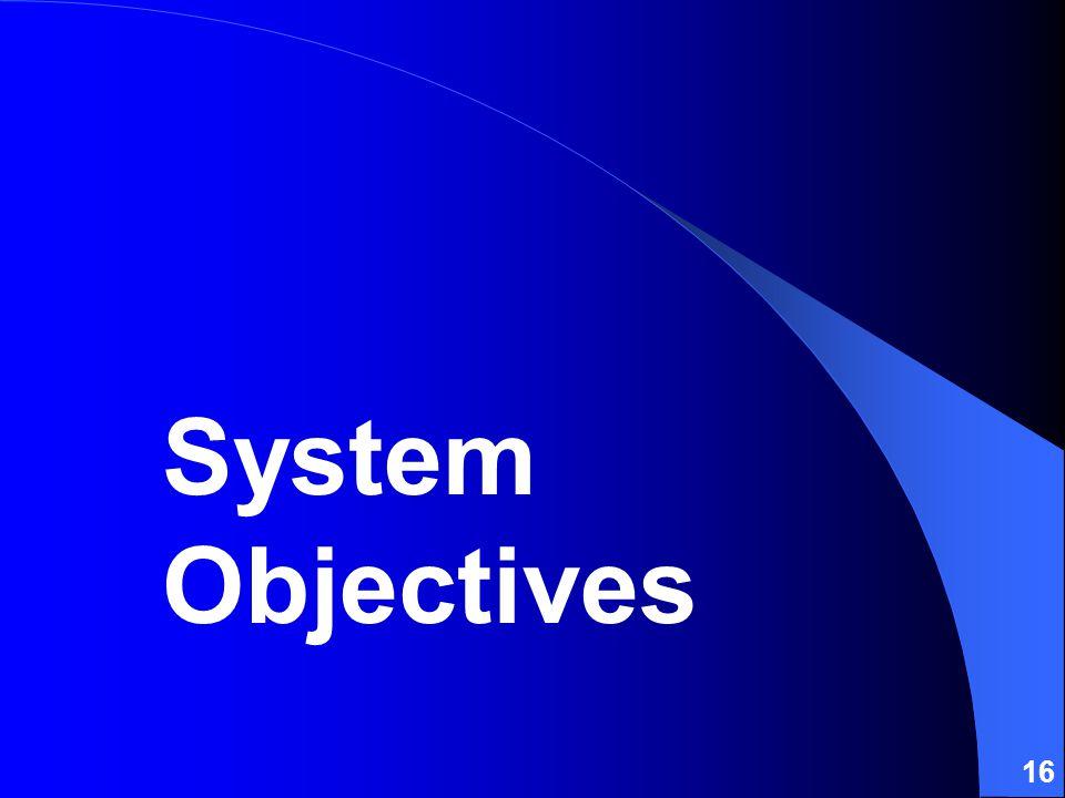 16 System Objectives