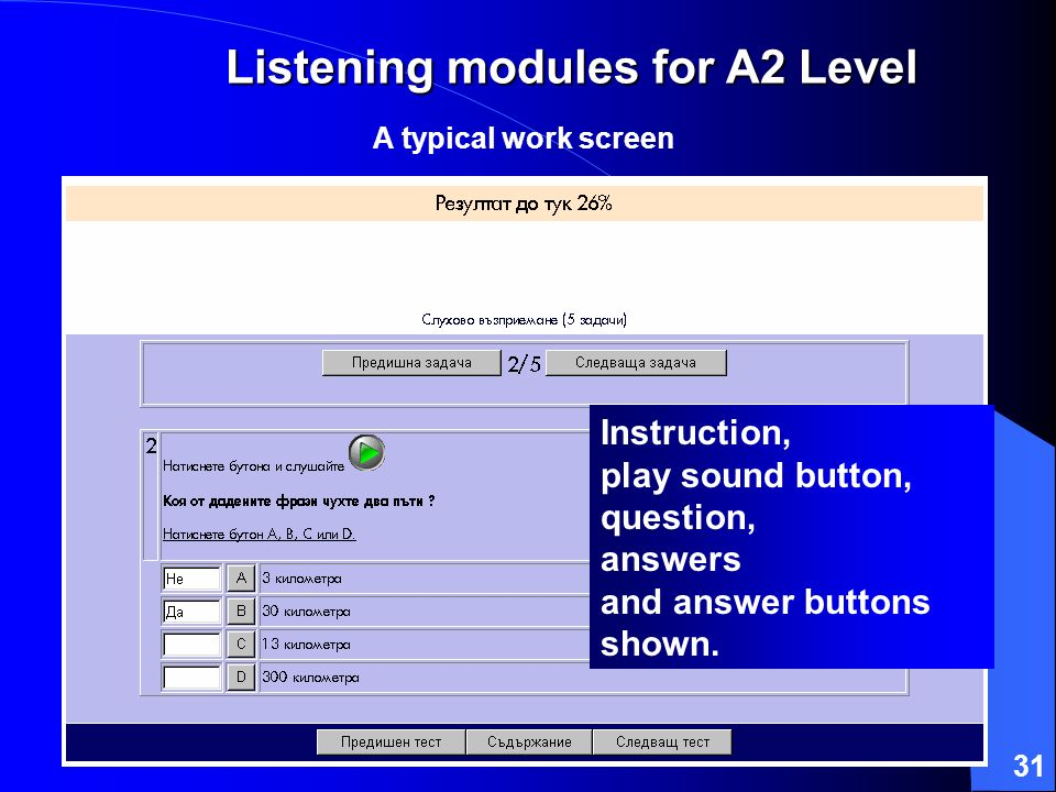 31 Listening modules for A2 Level A typical work screen Instruction, play sound button, question, answers and answer buttons shown.