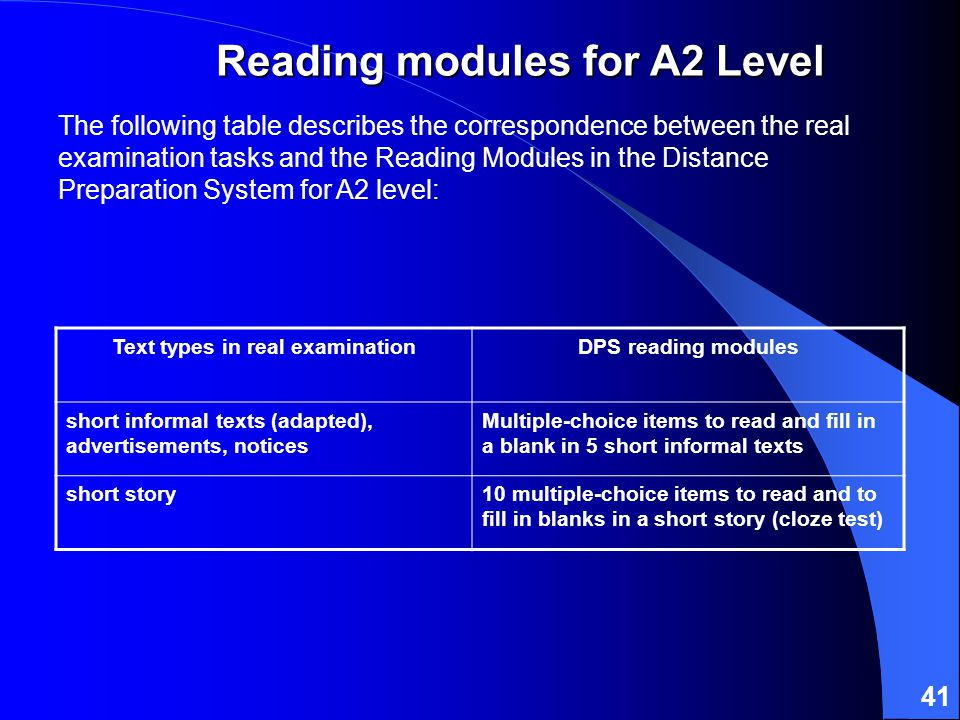 41 The following table describes the correspondence between the real examination tasks and the Reading Modules in the Distance Preparation System for A2 level: Text types in real examinationDPS reading modules short informal texts (adapted), advertisements, notices Multiple-choice items to read and fill in a blank in 5 short informal texts short story10 multiple-choice items to read and to fill in blanks in a short story (cloze test) Reading modules for A2 Level