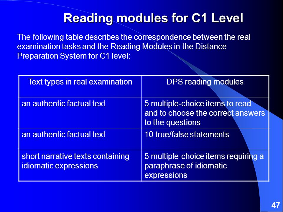 47 The following table describes the correspondence between the real examination tasks and the Reading Modules in the Distance Preparation System for C1 level: Text types in real examinationDPS reading modules an authentic factual text5 multiple-choice items to read and to choose the correct answers to the questions an authentic factual text10 true/false statements short narrative texts containing idiomatic expressions 5 multiple-choice items requiring a paraphrase of idiomatic expressions Reading modules for C1 Level