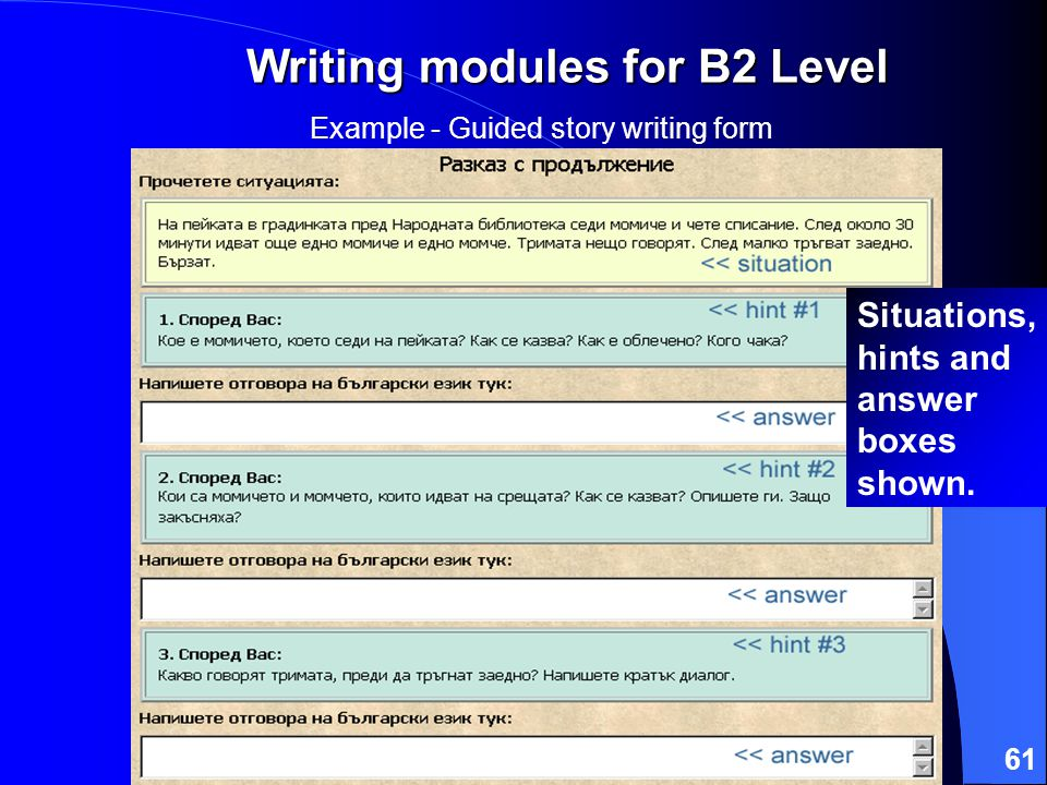 61 Writing modules for B2 Level Example - Guided story writing form Situations, hints and answer boxes shown.