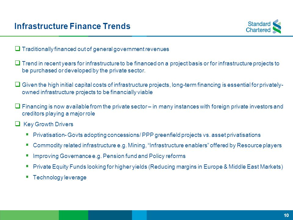 10 Infrastructure Finance Trends  Traditionally financed out of general government revenues  Trend in recent years for infrastructure to be financed