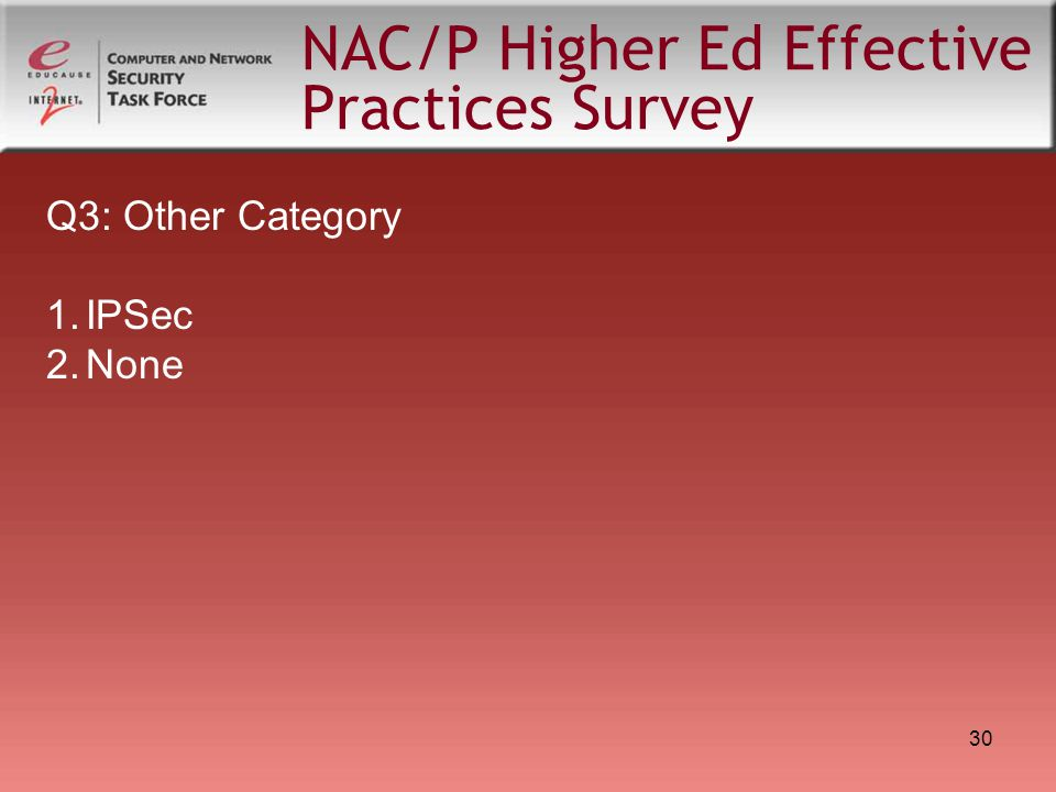 30 NAC/P Higher Ed Effective Practices Survey Q3: Other Category 1.IPSec 2.None