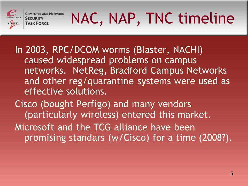 5 NAC, NAP, TNC timeline In 2003, RPC/DCOM worms (Blaster, NACHI) caused widespread problems on campus networks.