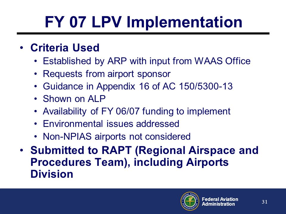 Federal Aviation Administration 32 New Process: FY07 & Beyond Survey Request Grant Application Schedule Survey Conduct Survey Data Validation Obstruction Chart AVN Approach Procedure National Geodetic Survey Aviation Systems Standards AIP Grant Award Airports GIS Data NGS WAAS Program Goals WAAS Program Goals -Processes controlled by FAA-Processes controlled by NGS -Processes controlled by the Airport Airport Planning Process Note: State grants, PFC, and local funding are also possible This is the eALP P r oject