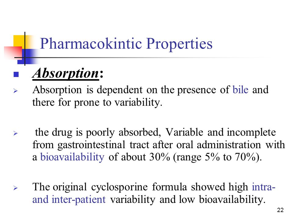 22 Pharmacokintic Properties Absorption:  Absorption is dependent on the presence of bile and there for prone to variability.  the drug is poorly ab