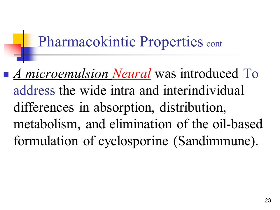23 Pharmacokintic Properties cont A microemulsion Neural was introduced To address the wide intra and interindividual differences in absorption, distr