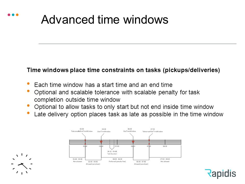 Advanced time windows Time windows place time constraints on tasks (pickups/deliveries) Each time window has a start time and an end time Optional and scalable tolerance with scalable penalty for task completion outside time window Optional to allow tasks to only start but not end inside time window Late delivery option places task as late as possible in the time window
