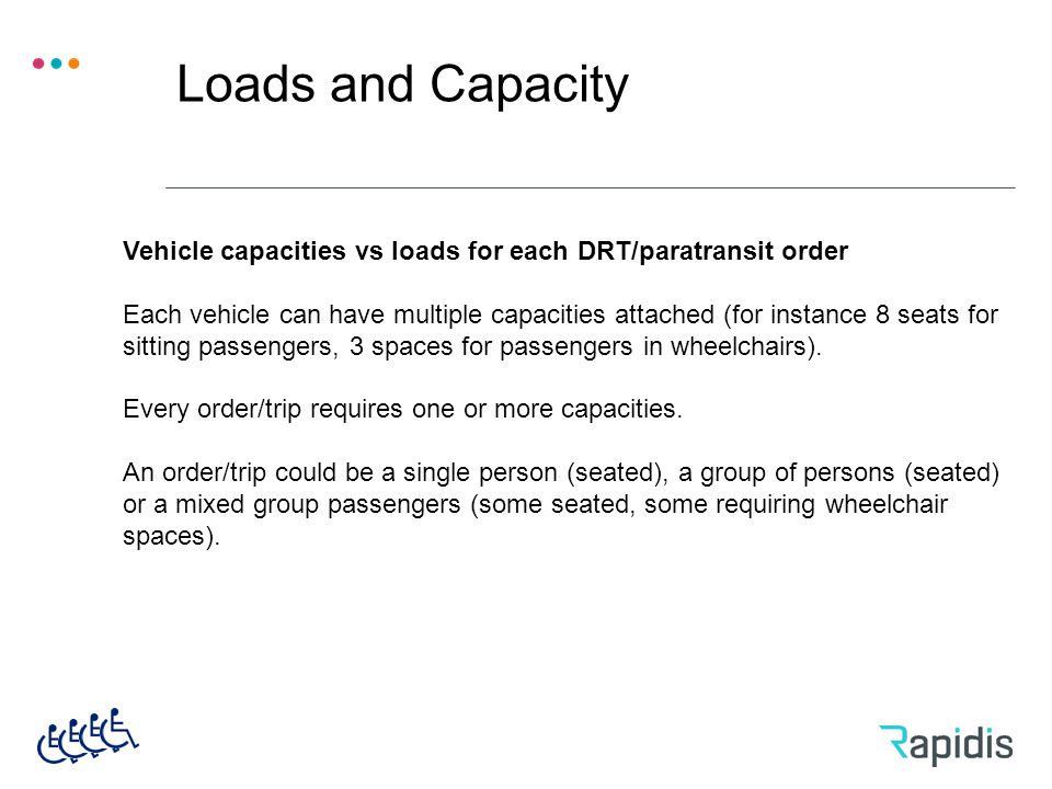 Loads and Capacity Vehicle capacities vs loads for each DRT/paratransit order Each vehicle can have multiple capacities attached (for instance 8 seats for sitting passengers, 3 spaces for passengers in wheelchairs).