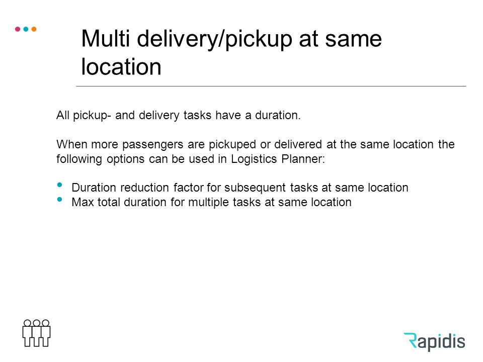 Multi delivery/pickup at same location All pickup- and delivery tasks have a duration.