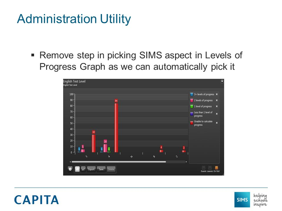 Administration Utility  Remove step in picking SIMS aspect in Levels of Progress Graph as we can automatically pick it