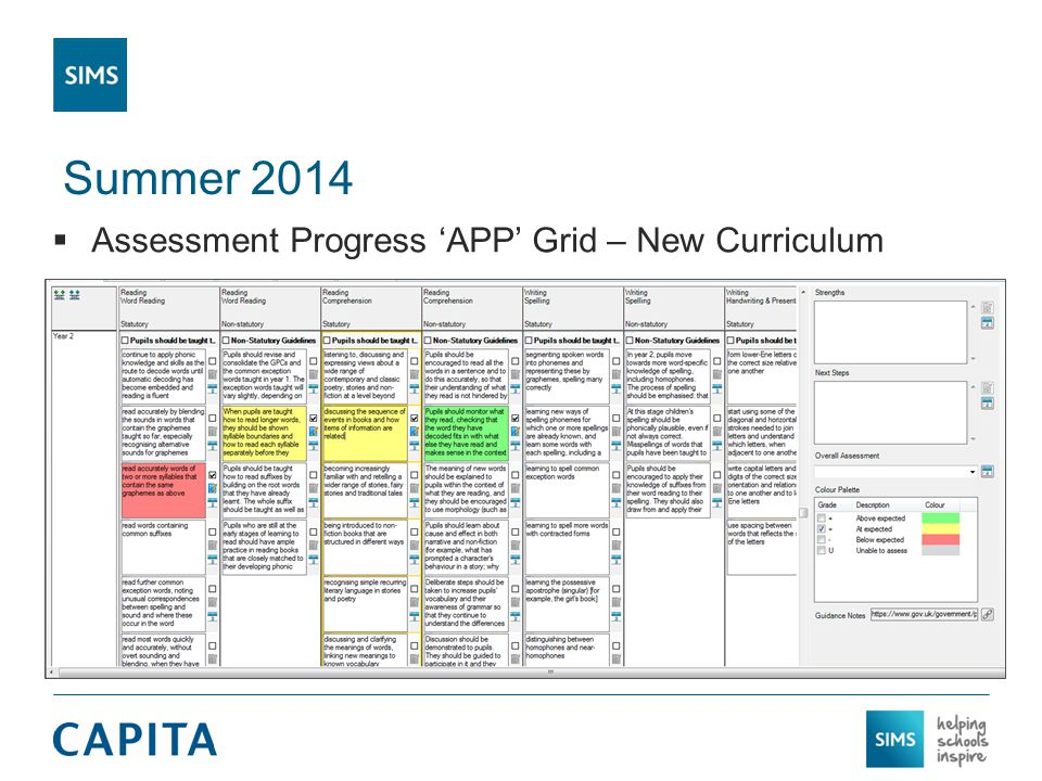 Summer 2014  Assessment Progress 'APP' Grid – New Curriculum