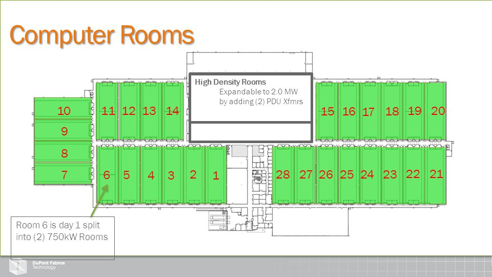 28 Rooms 249,000 SQFT 1.48 MW (Base) per Room Computer Rooms 8 Divisible Rooms 4 into (2) @ 750 kW 4 into (4) @ 375 kW High Density Rooms Expandable t