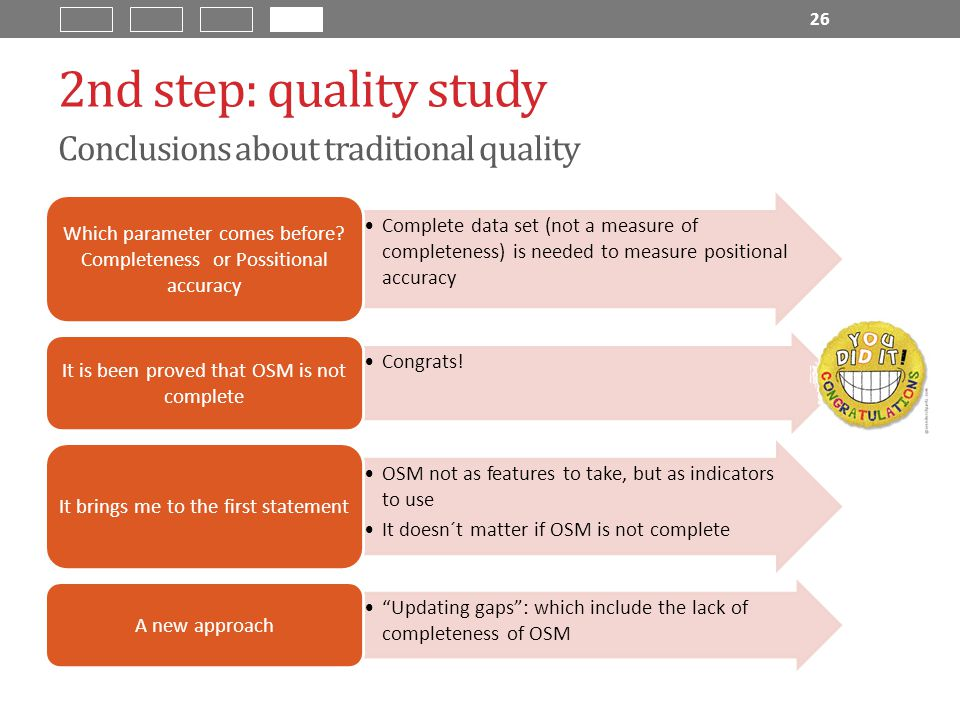 2nd step: quality study Conclusions about traditional quality Complete data set (not a measure of completeness) is needed to measure positional accuracy Which parameter comes before.