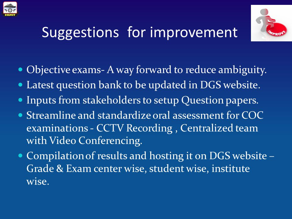 Suggestions for improvement Objective exams- A way forward to reduce ambiguity.
