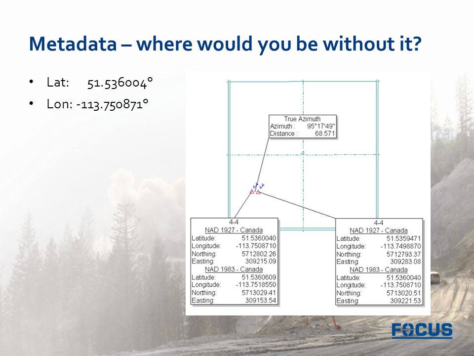 Metadata – where would you be without it Lat: 51.536004° Lon: -113.750871°