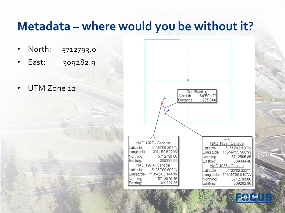 Metadata – where would you be without it North: 5712793.0 East: 309282.9 UTM Zone 12