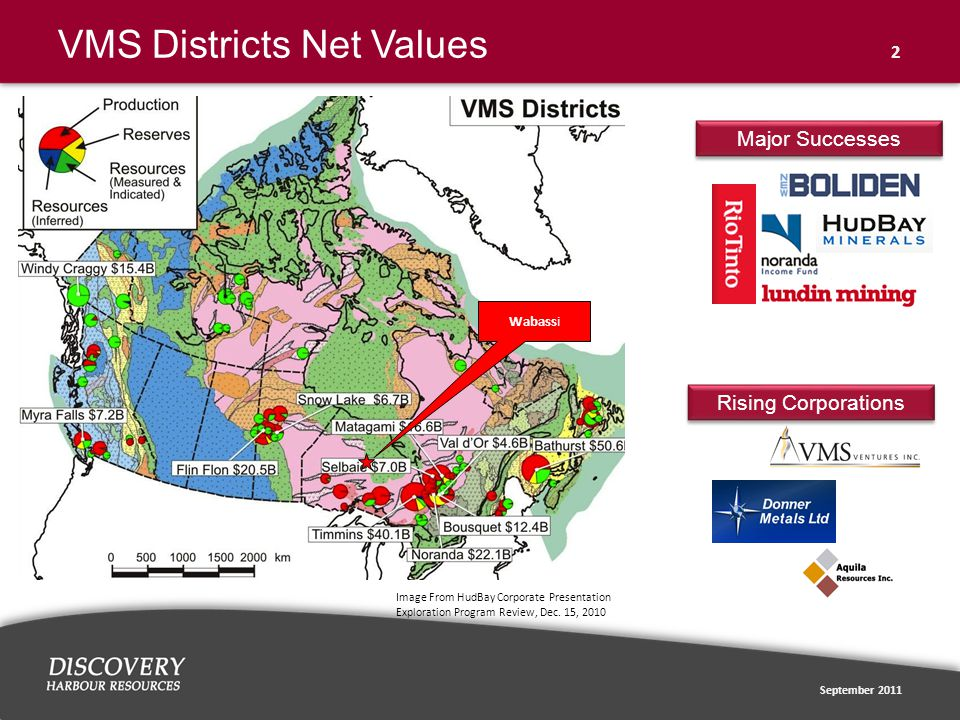 September 2011 2 VMS Districts Net Values Wabassi Image From HudBay Corporate Presentation Exploration Program Review, Dec.