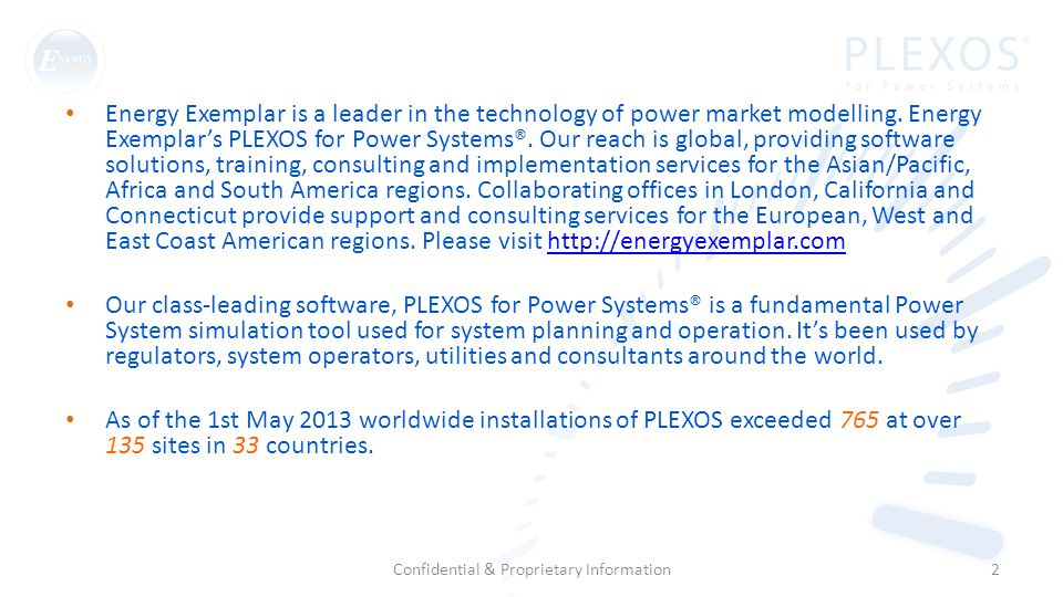 Energy Exemplar is a leader in the technology of power market modelling.