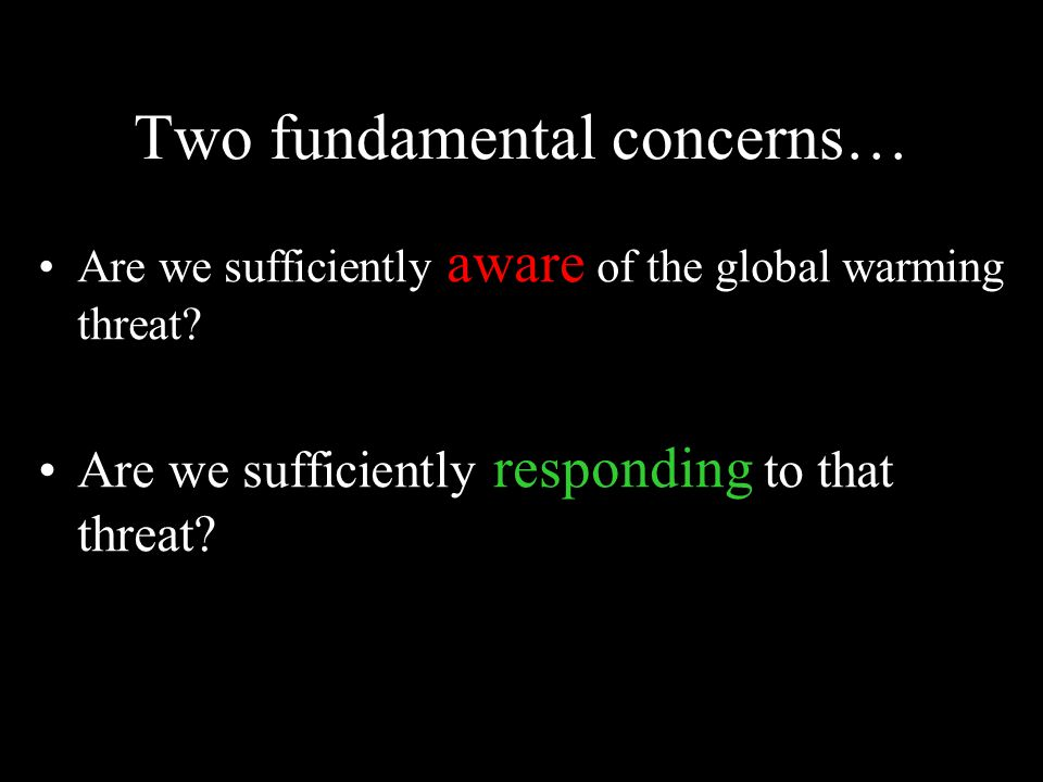 Two fundamental concerns… Are we sufficiently aware of the global warming threat.