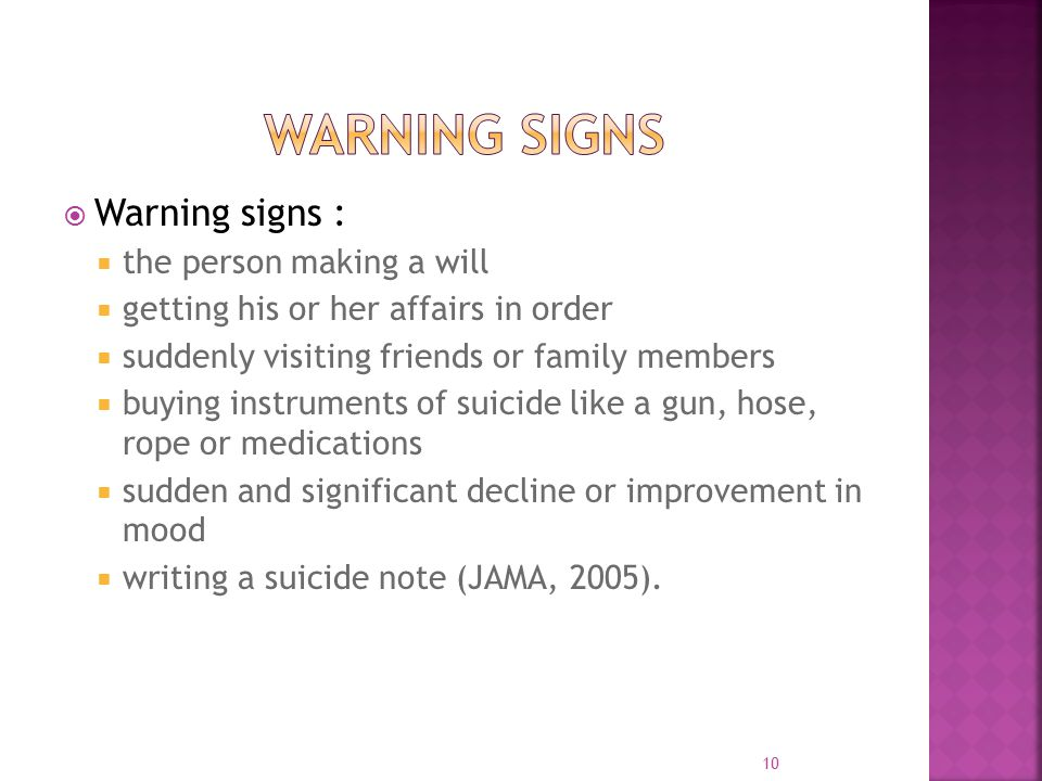  Warning signs :  the person making a will  getting his or her affairs in order  suddenly visiting friends or family members  buying instruments