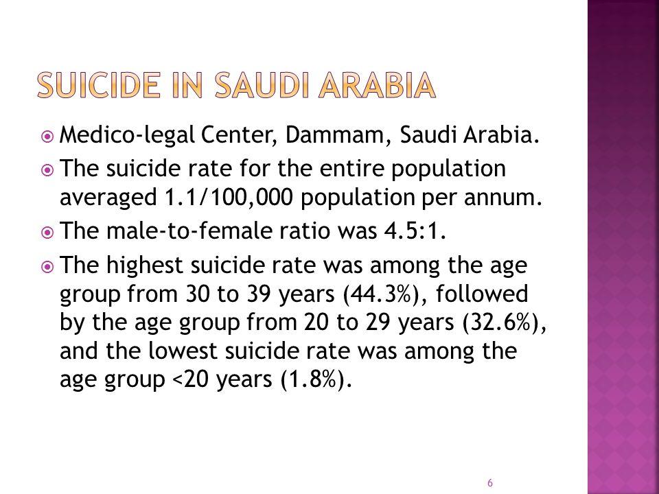  Medico-legal Center, Dammam, Saudi Arabia.  The suicide rate for the entire population averaged 1.1/100,000 population per annum.  The male-to-fem