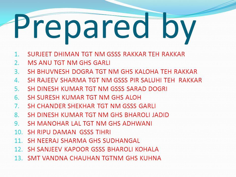 Prepared by 1. SURJEET DHIMAN TGT NM GSSS RAKKAR TEH RAKKAR 2.