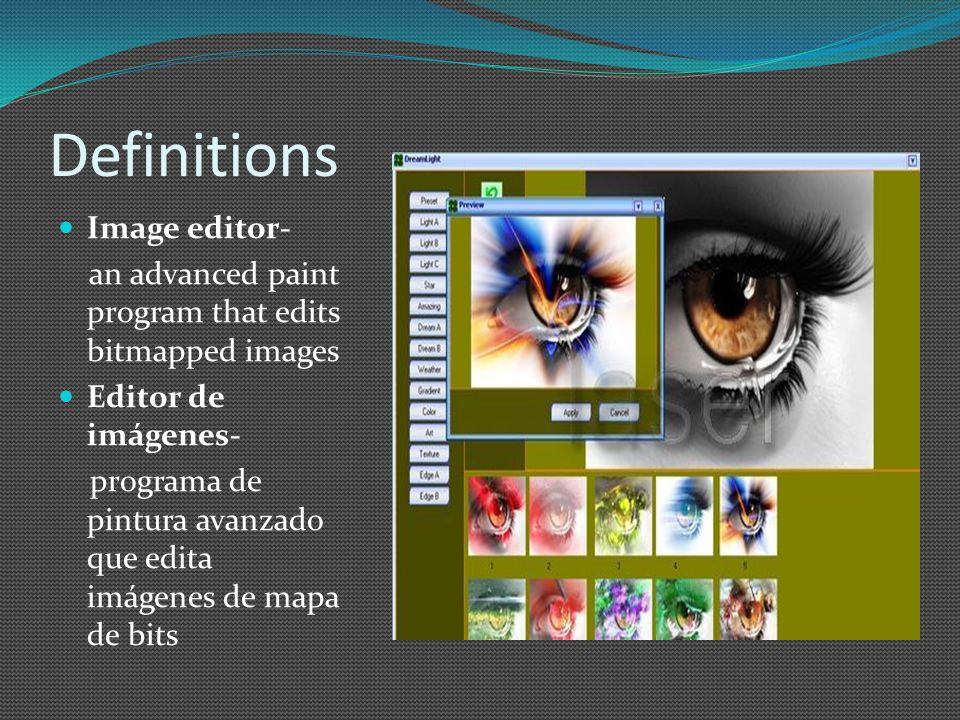Definitions Image editor- an advanced paint program that edits bitmapped images Editor de imágenes- programa de pintura avanzado que edita imágenes de mapa de bits