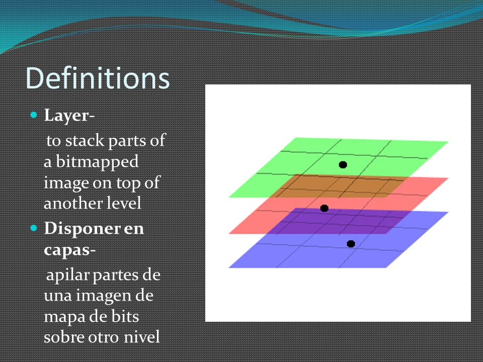 Definitions Layer- to stack parts of a bitmapped image on top of another level Disponer en capas- apilar partes de una imagen de mapa de bits sobre otro nivel