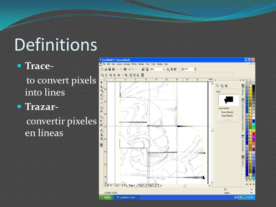 Definitions Trace- to convert pixels into lines Trazar- convertir pixeles en líneas