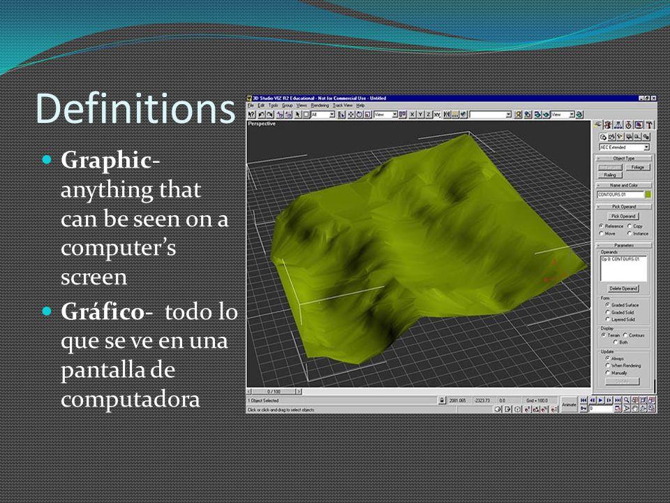 Definitions Bitmapped graphic- an image formed by a pattern of dots Gráfico de mapa de bits- imagen formada mediante un patrón de puntos