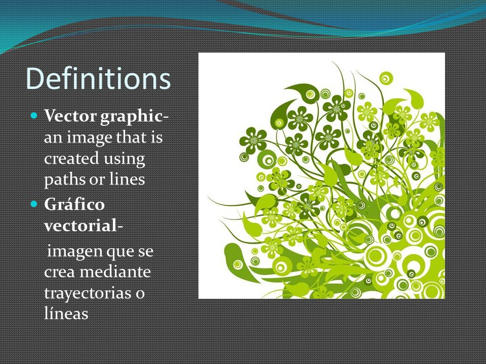 Definitions Vector graphic- an image that is created using paths or lines Gráfico vectorial- imagen que se crea mediante trayectorias o líneas