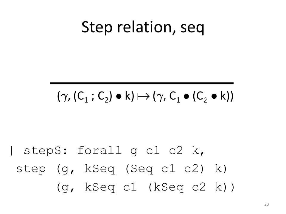 Step relation, seq ( °, (C 1 ; C 2 ) ² k)  ( °, C 1 ² (C 2 ² k)) | stepS: forall g c1 c2 k, step (g, kSeq (Seq c1 c2) k) (g, kSeq c1 (kSeq c2 k)) 23