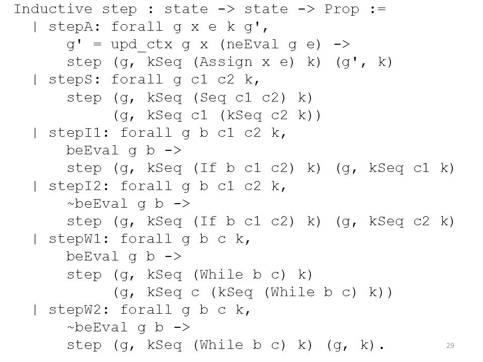 Inductive step : state -> state -> Prop := | stepA: forall g x e k g , g = upd_ctx g x (neEval g e) -> step (g, kSeq (Assign x e) k) (g , k) | stepS: forall g c1 c2 k, step (g, kSeq (Seq c1 c2) k) (g, kSeq c1 (kSeq c2 k)) | stepI1: forall g b c1 c2 k, beEval g b -> step (g, kSeq (If b c1 c2) k) (g, kSeq c1 k) | stepI2: forall g b c1 c2 k, ~beEval g b -> step (g, kSeq (If b c1 c2) k) (g, kSeq c2 k) | stepW1: forall g b c k, beEval g b -> step (g, kSeq (While b c) k) (g, kSeq c (kSeq (While b c) k)) | stepW2: forall g b c k, ~beEval g b -> step (g, kSeq (While b c) k) (g, k).