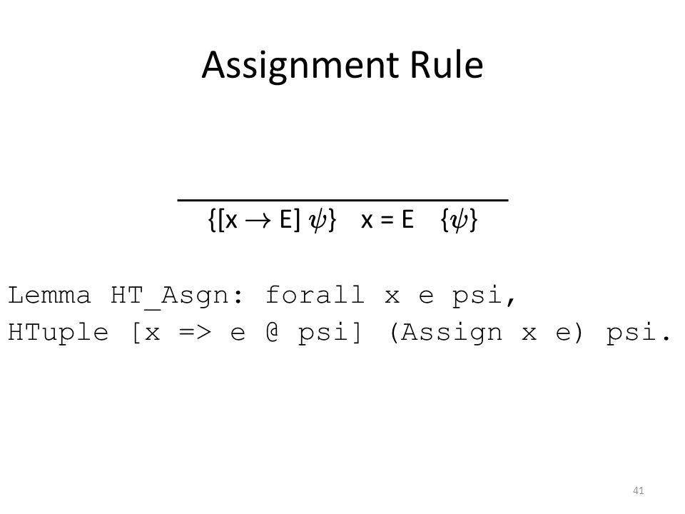Assignment Rule {[x .