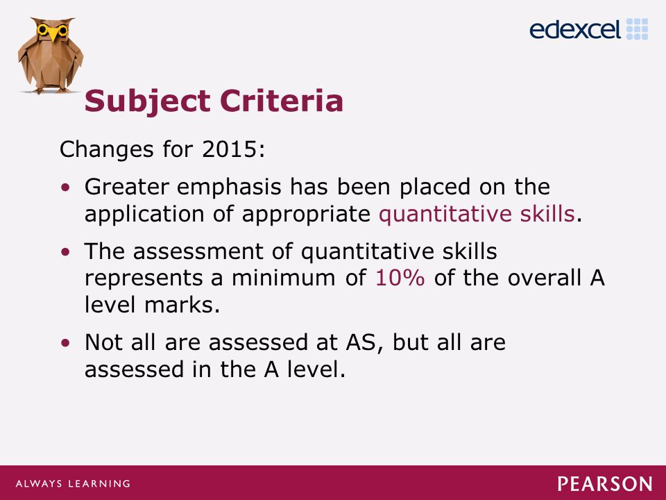 Click to edit Master title style Click to edit Master text styles –Second level Third level –Fourth level »Fifth level Changes for 2015: Greater emphasis has been placed on the application of appropriate quantitative skills.