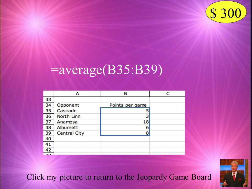 $ 300 Click my picture to see the answer What is the formula that will calculate the mean for the basketball player in the spreadsheet below?