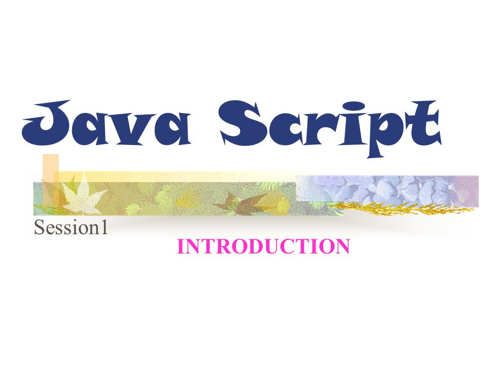 Session Objectives Describe JavaScript Differentiate between Client-Side and Server- Side Applications Differentiate between JavaScript and Java Integrate JavaScript in HTML